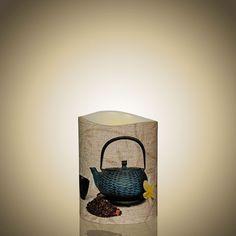 LED Kerze - Neues genüssliches Motiv Tea Time von myei - Alles was mir gefällt (H: 10,1 cm - ø: 7,6 cm).