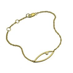 """This delicate open eye pendant on a rope chain bracelet is believed to offer protection. The understated piece sparkles with diamond. Adjustable lobster claw closure. <br /> <br />Open eye with diamond bracelet on an adjustable 6""""/6.5""""/7"""" rope chain.  <br /> <br />ORDERS WILL SHIP WITHIN 2 WEEKS."""