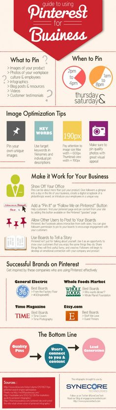 'Guide to using #Pinterest for Business' #infographic by Synecore technologies