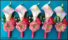 Realistic, artificial calla lily, spray rose, and ranunculus groomsmen boutonnieres in pink and coral, designed by Something Floral/Something Spectacular. Accented with wild grass and pearls. #boutonniere #boutonnieres #buttonhole #groom #groomsman #groom #wedding #prom #homecoming #flowers #flowerstowear #coral #pink #peach #silk #artificial #calla #lily #rose #ranunculus #buttercup