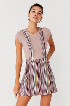 UO Bellamy Striped Skirtall Overall | Urban Outfitters
