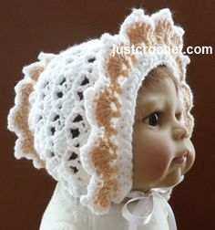 Free baby crochet pattern for frilled bonnet http://www.justcrochet.com/frilled-bonnet-usa.html #patternsforcrochet