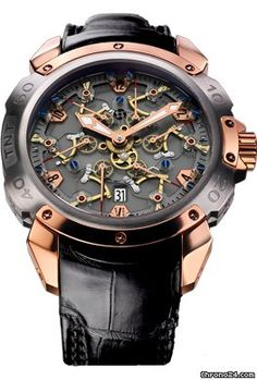 Pierre DeRoche Grandcliff TNT Royal Retro Sapphire $107,539 #PierreDeRoche #watch #chronograph Automatic, exclusive Dubois Dépraz calibre, 58 jewels, 22K pink gold decorated and engraved oscillating weight.