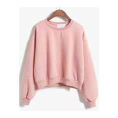 SheIn(sheinside) Crew Neck Crop Sweatshirt (44 BRL) ❤ liked on Polyvore featuring tops, hoodies, sweatshirts, sweaters, shein, tops and outerwear, pink, pullover sweatshirt, cropped tops and long sleeve pullover