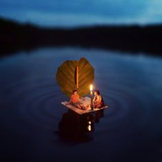 """SUMMER TALES    ///    """"I had the idea of a rafting picture floating around in my head for awhile. My sister and I made the raft out of popsicle sticks, and photographed it in a nearby lake,"""" said Hoover."""