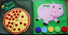 Toy Story Quiet Book - Pizza planet page and Piggy Bank page