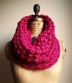 Chunky Knit cowl Hot Pink. Fushia. Wool Free. by Happiknits, $68.00