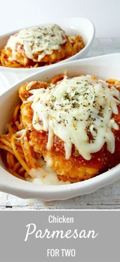 Chicken Parmesan Recipe for Two - is the best recipe, easy and quick too. The chicken is coated in breadcrumbs and Parmesan cheese, then fried crispy and golden brown, served in individual dishes on top of spaghetti and smothered in extra sauce and melted Mozzarella and Parmesan cheese. This is one our all time favorite go-to dinners and is perfect for date night dinner or weekend lunch. #ChickenParmesan #chicken #parmesan #DinnerForTwo #LunchForTwo #RecipesForTwo