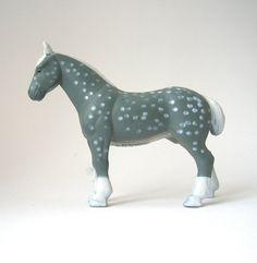 Vintage Percheron Horse  miniature sandplay gray by RememberThat1