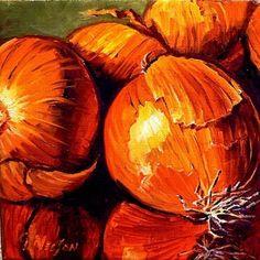 Yellow Onions, 00909, onion still life, painting by artist Carol Nelson