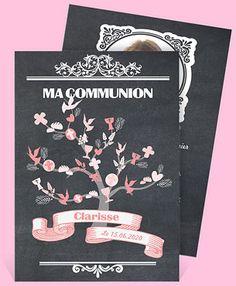 Faire-part communion réf. Decoration Communion, Invitations, Inspiration, Voici, Garden, Party, First Communion Cards, Biblical Inspiration, Garten