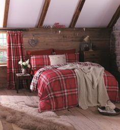 This! This bedroom is perfect. Love it. Well, except the unmade bed, tut tut. Just want a log cabin style bedroom <3