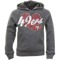 San Francisco 49ers Youth Girls Tri-Blend Fleece Pullover Hoodie - Ash