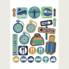 un style vintage en bleu et brun pour cette planche d'embellissements... Printable Stickers, Printable Paper, Planner Stickers, Free Printable, Travel Scrapbook, Scrapbook Cards, Project Life Travel, Planner Decorating, Planner Pages