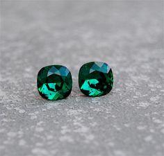 Emerald Green Earrings Swarovski Emerald Studs Super Sparklers Square Vintage Swarovski Crystal Emerald Green Stud Earrings Mashugana