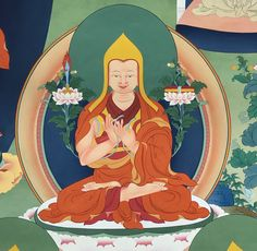 ཙོང་ཁ་པ་བློ་བཟང་གྲགས་པ་, tsong kha pa blo bzang grags pa) — the founder of the Gelug school. As a young man he distinguished himself through his study and his intellect. Le Tibet, Tibet Art, Thangka Painting, Buddha Painting, Tibetan Buddhism, Buddhist Art, Young Man, Teaching Writing, History