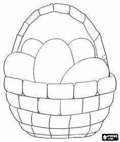 desenho de Cesto cheio de ovos prontos para pintá-las e transformá-los em ovos de Páscoa para colorir