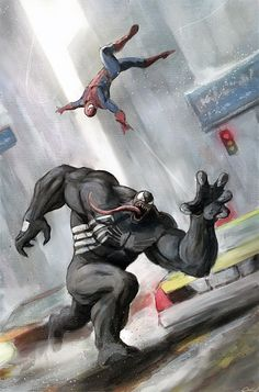 (Spiderman vs Venom) By: Carstenbiernat. Marvel Comic Character, Comic Book Characters, Marvel Characters, Comic Books Art, Comic Art, Character Art, Marvel Comics Art, Marvel Heroes, Anime Comics