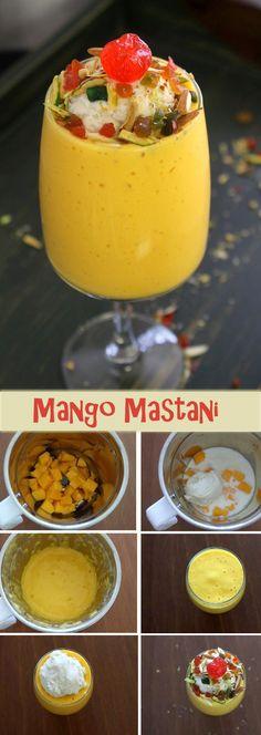 Mango mastani recipe – Mastani is Pune's popular drink recipe. Thick mango milkshake topped with ice cream, nuts, tutti frutti and cherry. Mango Dessert Recipes, Easy Drink Recipes, Mango Recipes, Spicy Recipes, Smoothie Recipes, Indian Food Recipes, Desserts, Smoothies, Fruit Milkshake