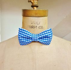 Blue Gingham Bow Tie by BowMeAwayByAlexandra on Etsy, $15.00
