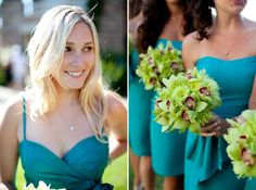 bridesmaids bouquets sort of the idea for the bridesmaids. add Lime Callas and replace the orchids for Turquoise Daffodils. Right color for dresses