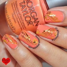 Morgan Taylor Candy Coated Coral with Born Pretty Store water decals.