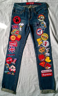 Reworked Vintage Jeans with Patches Women 28 Waist by KodChaPhorn on Storenvy All Jeans, Guess Jeans, Embellished Jeans, Embroidered Jeans, Patched Jeans, Denim Jeans, Vintage Jeans, Vintage Outfits, Reuse Clothes