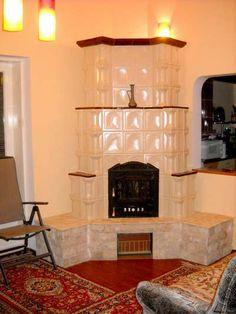 Soba semineu alba pe colt, cu polite si soclu Holiday Photography, Smart Furniture, Design Case, Home Decor Inspiration, Architecture Design, House Design, Interior Design, Stoves, Terracotta