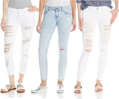 Here are some style ideas from the street on how to keep your style while rocking the of-the-moment, raw + distressed jeans. Tattered Jeans, Denim Trends, Cozy Fashion, Distressed Denim, White Jeans, Your Style, Pants, How To Wear, Trousers