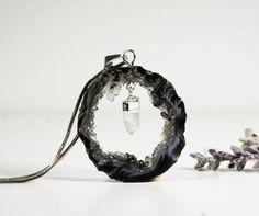 Geode Pendant Slice, Druzy Agate, Raw Crystal