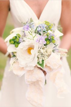Small Wildflowers and Peonies Bouquet tied with lacy ribbon
