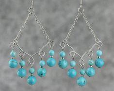 Copper large dangling chandelier Earrings por AnniDesignsllc