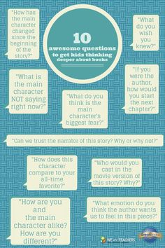 10 Awesome Questions to Get Kids Thinking Deeper About Books #engchat #reading