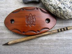 Dk Brown Turtle Hand Tooled Leather Barrette with Wooden Stick - Leather Hair Barrette by silverdawnjewelry on Etsy