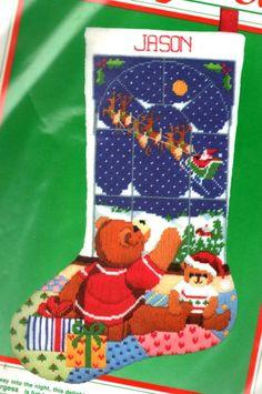 "VINTAGE 1987 DIMENSIONS CHRISTMAS ""GOOD NIGHT SANTA"" STOCKING NEEDLEPOINT KIT #Dimensions"