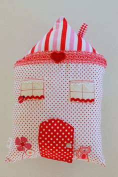 Dotty Tooth Fairy Pillow with a secret door  - red - white - pink