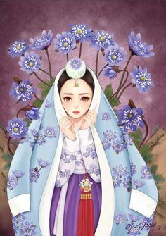 열두달의 꽃과 한복을 입은 열두명의 소녀.  소녀, 꽃 속에서 노닐다. 연작  1월의 탄생화 노루귀.  노루귀의 꽃말은 인내랍니다.