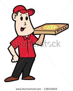 cartoon pizza delivery man by mhatzapa, via ShutterStock