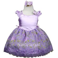 Victorian Princess Baby Dress: This beautiful victorian princess baby dress looks like it came straight from a fairytale story! A lovely corset style bodice made of smooth satin features a butterfly ruffled, off-the-shoulder sleeve paired with double spaghetti straps. On the sides of the bodice are exquisite lace-ups which can tighten the lilac princess dress to fit your baby perfectly.