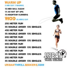 double unders, jump squats, 400 meter run, med ball clean, mountain climbers