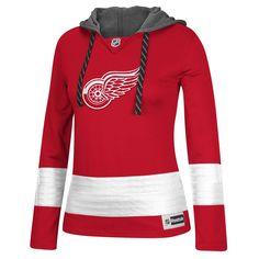 Women's Detroit Red Wings Reebok Red Jersey Pullover Hoodie