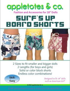 """Surf's Up Board Shorts 18"""" Doll Clothes Pattern"""