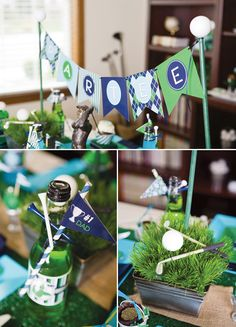 centerpieces with golf balls | table centerpiece strung between golf ball topped poles fantastic golf ...