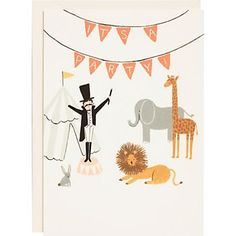 Adorable circus invites for a kids party! $20 for 10 from Paper Source.