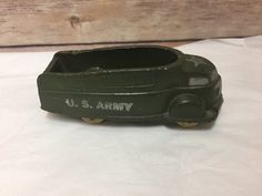 Sun Rubber Streamline Green White US Army Truck Vintage #SunRubberCo