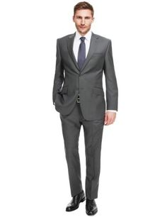 Savile Row Inspired Pure New Wool 2 Button Twill Suit-Marks & Spencer