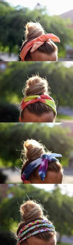 If you need some simple summer fashion ideas, these DIY tie dye headbands are easy to make from t-shirts and look great! by tanya