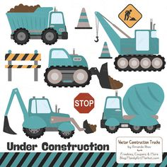 Inspired by my toddlers love of Dig Digs, these construction themed clipart images are great for boys crafts and parties. Includes 11 images