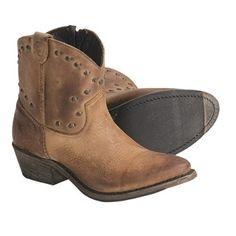 Vintage Luisa Studded Western Zip Boots - Short (For Women) in Tan