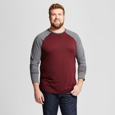 Men's Big & Tall Standard Fit Long Sleeve Baseball T-Shirt - Goodfellow & Co Burgundy (Red) 2XBT